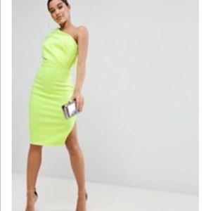 Asos neon yellow one shoulder dress
